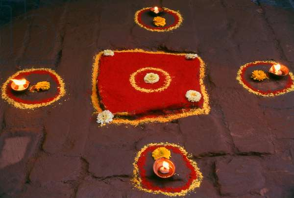Nepal: Simple rangoli decorations laid out for the Tihar festival (Nepalese equvalent of Diwali) on the floor of a temple in the Kathmandu Valley