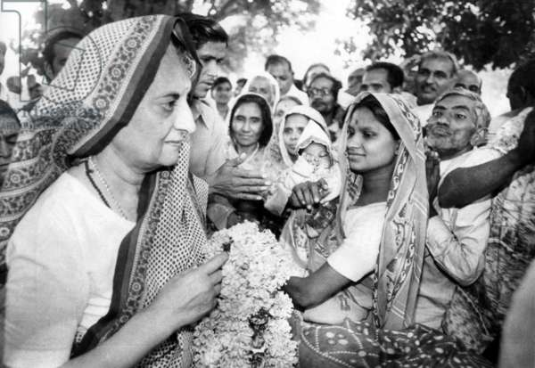 India: Indira Gandhi, former Prime Minister of India, is greeted by admirers in New Delhi in preparation for the 1979 general election