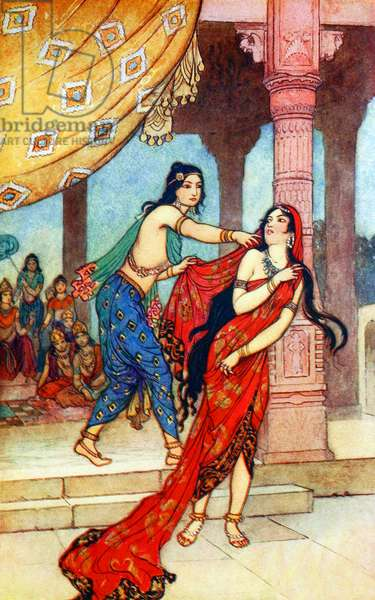 UK: 'The Ordeal of Queen Draupadi', Warwick Goble (1862-1943), 1912