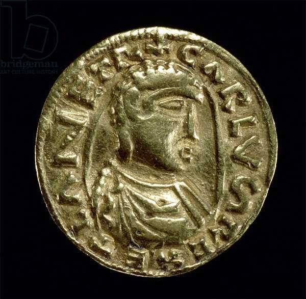 Germany / France: Gold coin minted in the Netherlands between 768-814. This coin bears the likeness of the first Holy roman Emperor Charlemagne (742-814).