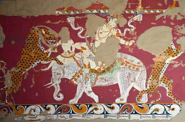 Uzbekistan: A ruler hunting leopards on elephant back. Detail from a section of the Afrasiab Murals, c. 650 CE