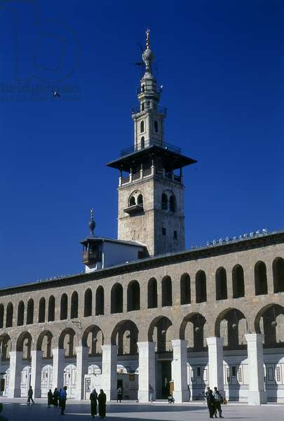 Syria: Minaret of the Bride and the central courtyard, Umayyad Mosque, Damascus