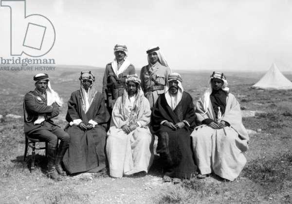Jordan: Emir Abdullah I, King of Jordan (1921-1946), centre, with Emir Shakir to the right, April 1921