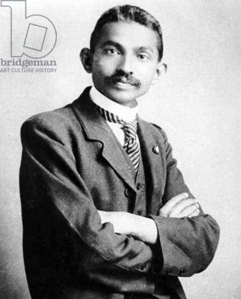 India: Mohandas Karamchand Gandhi (1869-1948), pre-eminent political and ideological leader of India's independence movement, as a young lawyer in South Africa (1906)