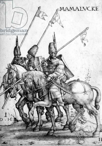 Egypt / Syria: Three Mamluk soldiers on horseback carrying lances. Daniel Hopfer, c. 1470-1536