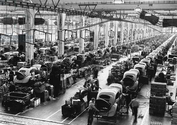 Germany, Body assembly line, Volkswagen Auto Works, Wolfsburg, 1962