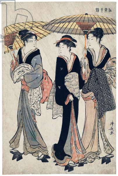 Japan: 'Three Beauties in the Rain'. Torii Kiyonaga (1752-1815), 1783