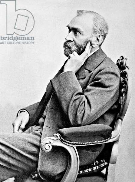 Sweden: Alfred Bernhard Nobel (1833 - 1896), chemist, engineer, inventor, businessman and philanthropist. Photographic portrait, Gosta Florman (1831 - 1900), late 19th Century