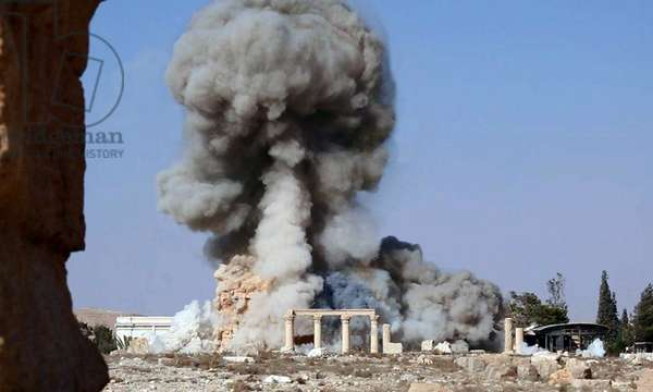 Syria: The destruction of the Temple of Bel, or Baal, by the Islamic State in Iraq and the Levant, Palmyra, August 2015 (photo)