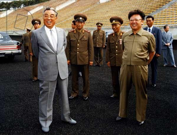 Korea: North Korean leader Kim Il Sung together wth his heir and successor Kim Jong Il, c. 1985