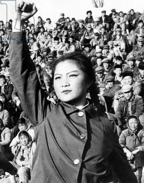 China: An enthusiastic 'Red Guard' gives the Communist International salute, Cultural Revolution, c. 1966