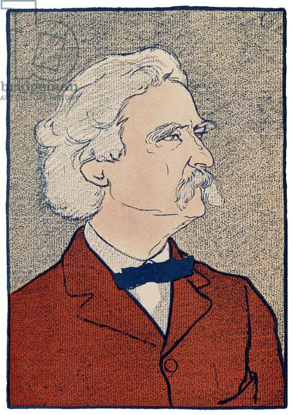 USA: Samuel Langhorne Clemens, aka Mark Twain, American writer, traveller and humorist (1835-1910), painted by Edward Penfield (1866-1925), 1898