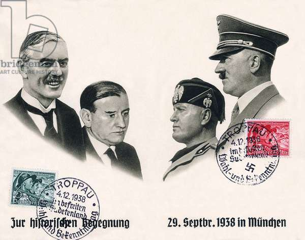 Germany: 'Zur Historischen Begegnung' ('The Historic Encounter'). Postcard celebratiung the signing of the Munich agreement, 29 September, 1938. Left to right: Chamberlain, Daladier, Mussolini, Hitler, Berlin 1938