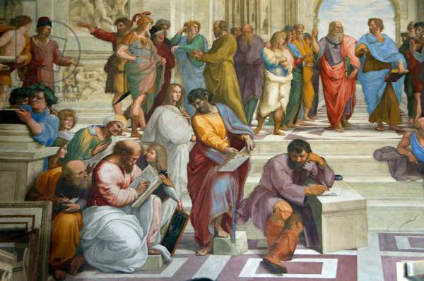 Detail from 'The School of Athens', featuring Greek philosophers headed by top right Plato (red robe) and Aristotle (blue robe). Others include Socrates (olive robe), Pythagoras (reading book) 1509–1511