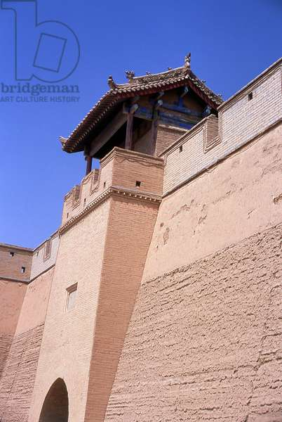 China: Outer entrance to Guanghua Men (Gate of Enlightenment), Jiayuguan Fort, Jiayuguan, Gansu
