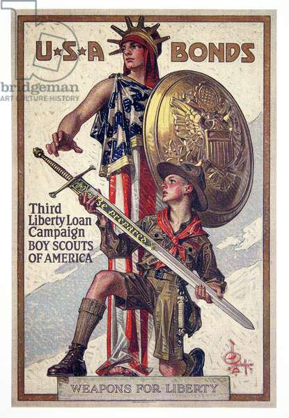 USA: USA Bonds - Third Liberty Loan Campaign - Boy Scouts of America Weapons for liberty. First World War propaganda poster, 1917