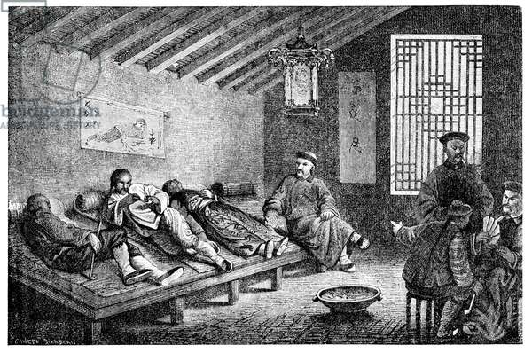 China: 'Une Fumerie d'Opium' (an Opium Den) in Beijing, Societe de Saint-Augustin, 1896 (photo)
