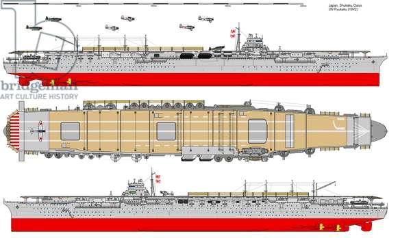 Japan: Diagram of the Imperial Japanese aircraft carrier Shokaku, 1942
