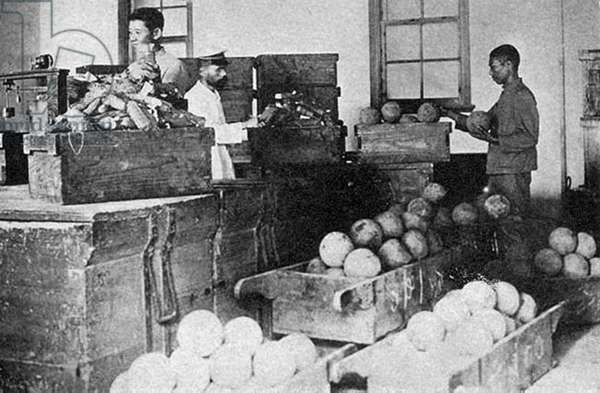 China: Unpacking opium cases at the Government Opium Factory in Taihoku (Taipei) during Japanese rule (1895-1945) c. 1905