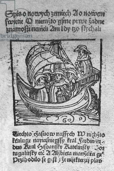 Czech Republic / USA: Columbus sailing for the New World in The Book of New Earths, the oldest description of the voyages of Christopher Columbus (Prague, 1506)
