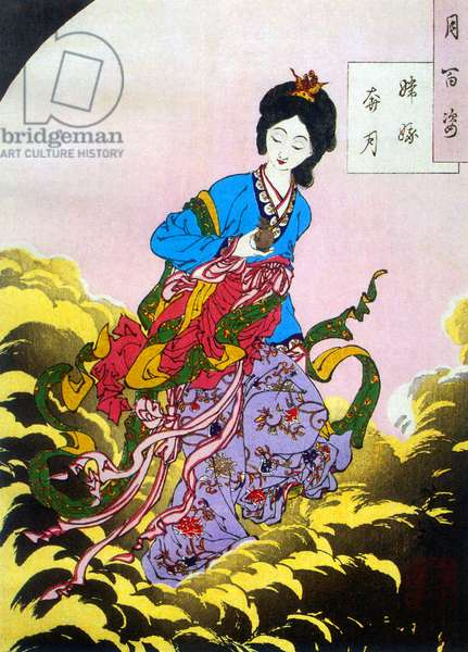 Japan: 'Chang'e flees to the moon', woodblock painting by Tsukioka Yoshitoshi (1839-1892), 1885