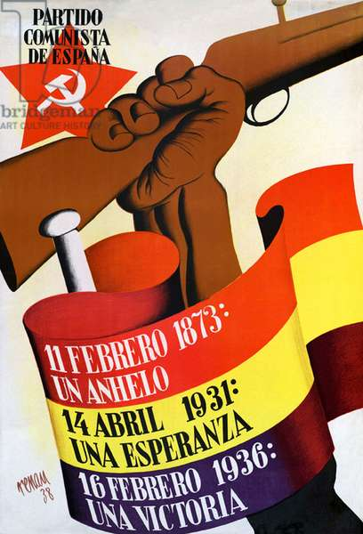 Spain: Poster for the Spanish Communist Party during the Spanish Civil War (1936-1939), 1938