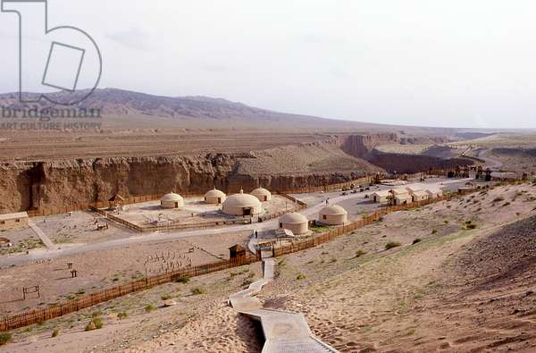 China: The Taolai River Gorge and Chinese military encampment museum marking the end of the Ming Great Wall near Jiayuguan Fort