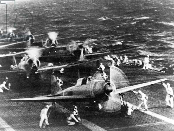 Japan: Aircraft from the Imperial Japanese Navy aircraft carrier 'Shokaku' prepare to take off to attack Pearl Harbor on the morning of 7 December 1941