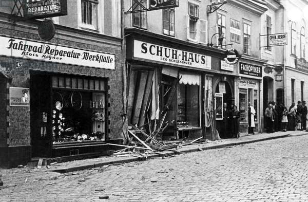 Austria: A Jewish-owned shoe store that was destroyed by the Nazis on Kristallnacht, Vienna, 10 November, 1938 (b/w photo)