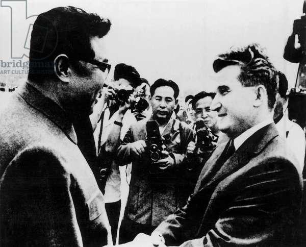 Korea: North Korean leader Kim Il Sung shakes hands with Romanian communist leader Nicolai Ceausescu, Pyongyang, June 1971