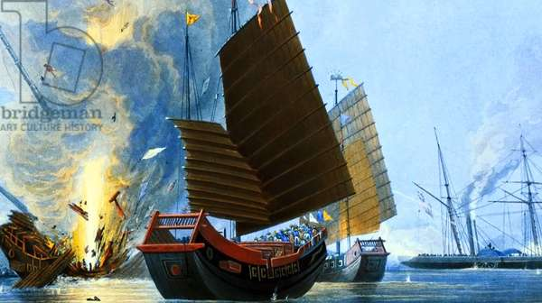 China: The First Opium War -  War Junks being destroyed by the Honourable East India Company Ship 'Nemesis'.
