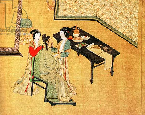 China: Detail from 'Han Xizai (902-970) Gives a Banquet', version by Ming Dynasty painter Tang Yin (1470-1524)