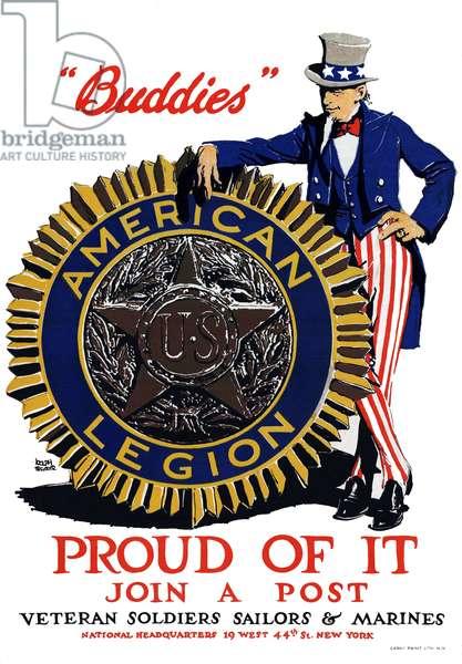 USA: 'Buddies' - Proud of it - Join a post - Veteran Soldiers Sailors & Marines'. First World War propaganda poster, New York, c. 1919