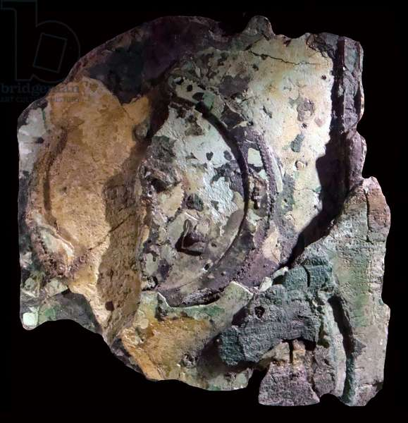 Greece: The Antikythera mechanism fragment A, back. Antikythera Island, Aegean Sea, c. 250-150 BCE