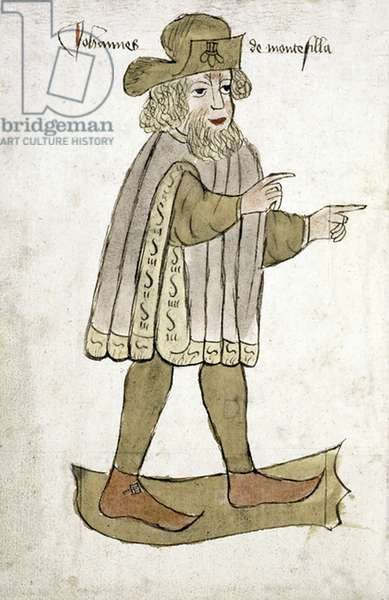 England: Portrait of Sir John Mandeville, traveller and fantasist, created 1459.