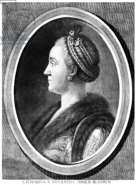 Russia: Catherine II or 'Catherine the Great' (1729 - 1796), r. 1762 -1796, anonymous engraving, 18th century