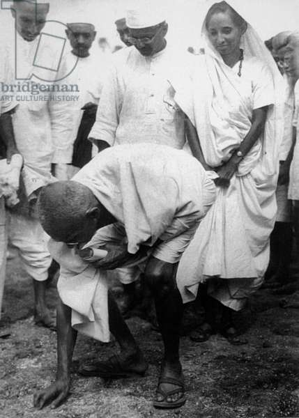 India: Mohandas Karamchand Gandhi (1869-1948), pre-eminent political and ideological leader of India's independence movement, ending the Salt March at Dandi, 5 April 1930
