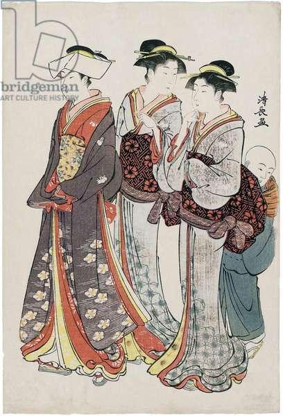 Japan: 'A Young Lady, Her Two Maids, and A Kozö (errand boy)'. Torii Kiyonaga (1752-1815), 1783