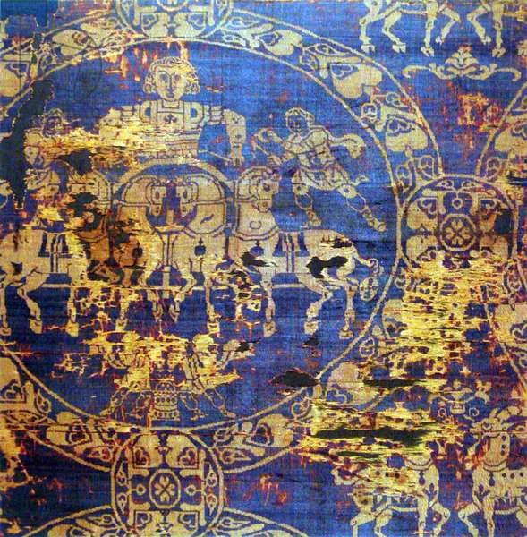 Byzantium / Turkey: Detail of the death shroud of the Emperor Charrlemagne (c. 742 - January 28, 814), made in Constantinople (now Istanbul), 814, employing gold thread and Tyrian Purple dyed cloth