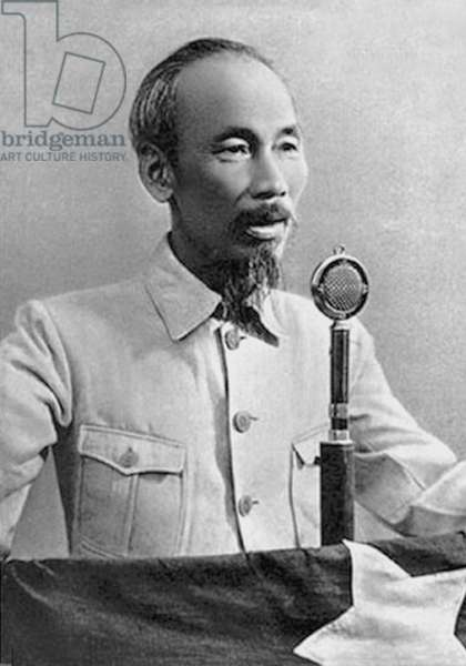 Vietnam: Ho Chi Minh gives a speech to the people of Vietnam, on September 2, 1945, declaring the national independence of the country from the French empire