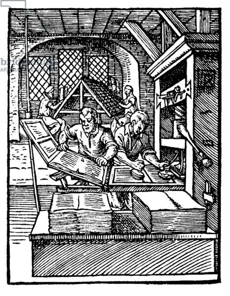 Europe / Germany: A mechanical printing press of the type designed by Johannes Gutenberg, c. 1568