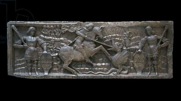 Italy: A doorway lintel featuring Saint George and the Dragon, Genoa, c. 1450 - 1500 (Victoria and Albert Museum, London)
