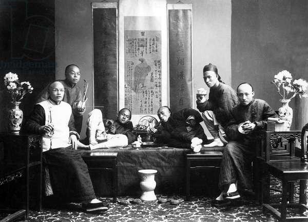 China: Studio portrait of opium smokers in China, c. 1880 (b/w photo)