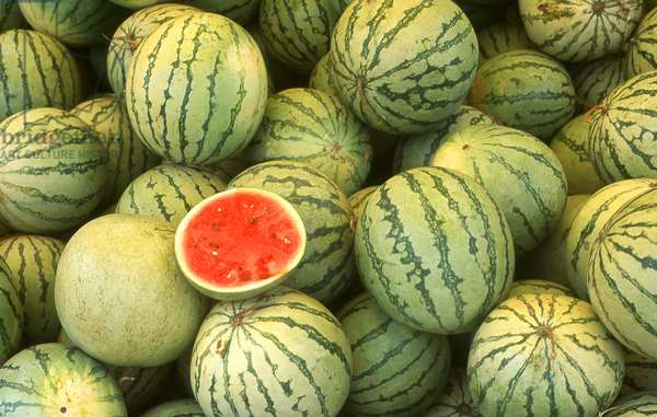 Cambodia: Watermelons for sale at a market in Skuon, central Cambodia