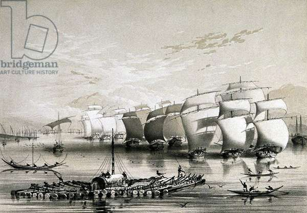 India: 'The Opium Fleet descending The Ganges en route to Calcutta'. In 1773, the British East India Company obtained a monopoly over Indian opium, chiefly for export to China