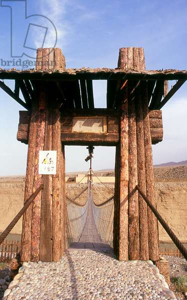 China: Bridge across the Taolai River Gorge marking the end of the Ming Great Wall near Jiayuguan Fort