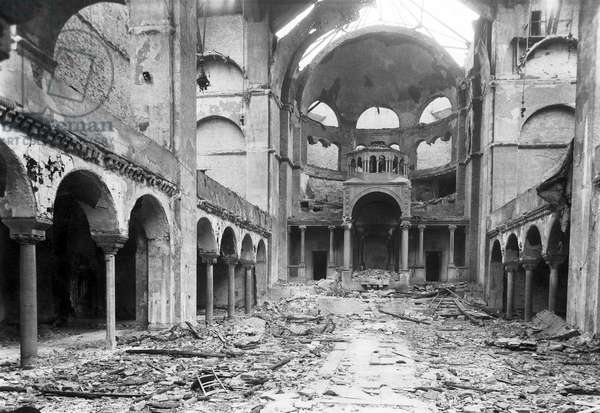 Germany: The interior of Berlin's Fasanenstrasse Synagogue, opened in 1912, after it was set on fire during Kristallnacht on November 9, 1938 (b/w photo)