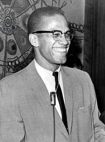 Malcolm X (1925-1965), born Malcolm Little, Black Rights advocate and American Muslim minister, 12 March 1964 (b/w photo)