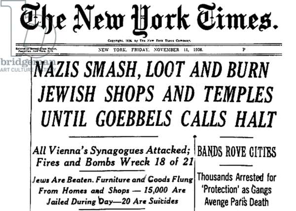 Germany / Austria: Headline in the New York Times after the anti-Jewish pogrom known as Kristallnacht, 11 November, 1938