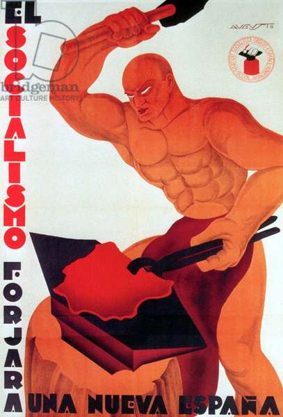 Spain: 'Socialism will forge a New Spain'. Revolutionary poster from the Spanish Civil War (1936-1939)